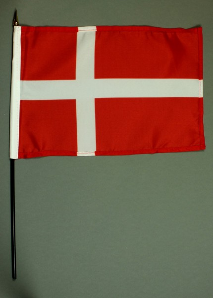 Tischflagge Dänemark 20x30 cm optional mit Tischflaggenständer aus Mahagoni Holz