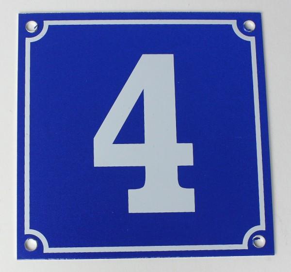 Hausnummernschild Aluminium Aluschild 1 mm Stärke Alu Schild Nr. 4 blau