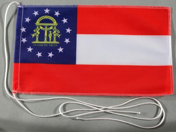 Tischflagge Georgia USA Bundesstaat US State 25x15 cm optional mit Holz- oder Chromständer Tischfahn