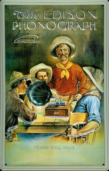 Blechschild Nostalgieschild The Edison Phonograph Cowboy