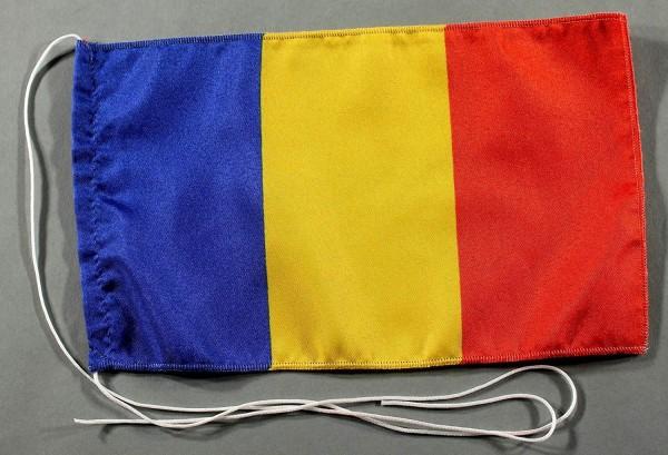 Tischflagge Rumänien 25x15 cm optional mit Holz- oder Chromständer Tischfahne Tischfähnchen
