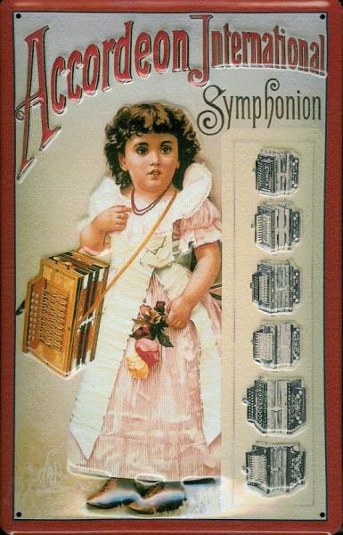 Blechschild Nostalgieschild Accordeon International Symphonion Akkordeon