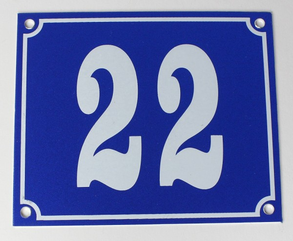 Hausnummernschild Aluminium Aluschild 1 mm Stärke Alu Schild Nr. 22 blau