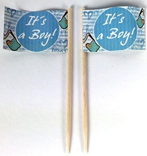 Party-Picker Flagge It´s a Boy Papierfähnchen in Spitzenqualität 50 Stück Beutel