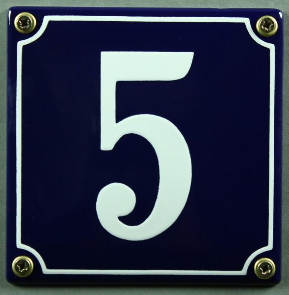 Hausnummernschild 5 blau - weiß 12x12 cm sofort lieferbar Schild Emaille Hausnummer Haus Nummer Zahl