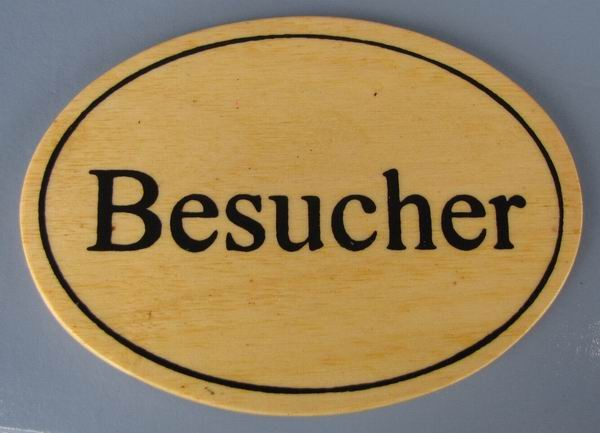 Ovales Holz - Türschild Besucher 7x10 cm helles Holzschild