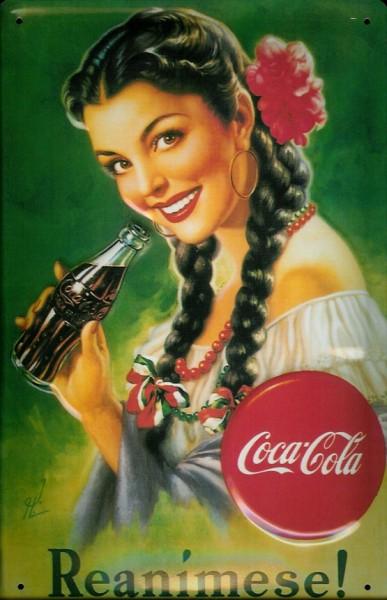 Blechschild Coca Cola Reanimese Mädchen mit Zöpfe Schild nostalgisches Werbeschild