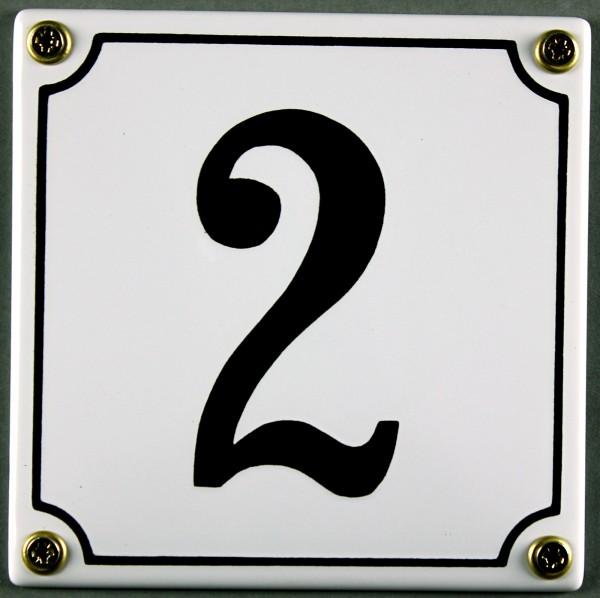 Hausnummernschild 2 weiß 12x12 cm sofort lieferbar Schild Emaille Hausnummer Haus Nummer Zahl Ziffer
