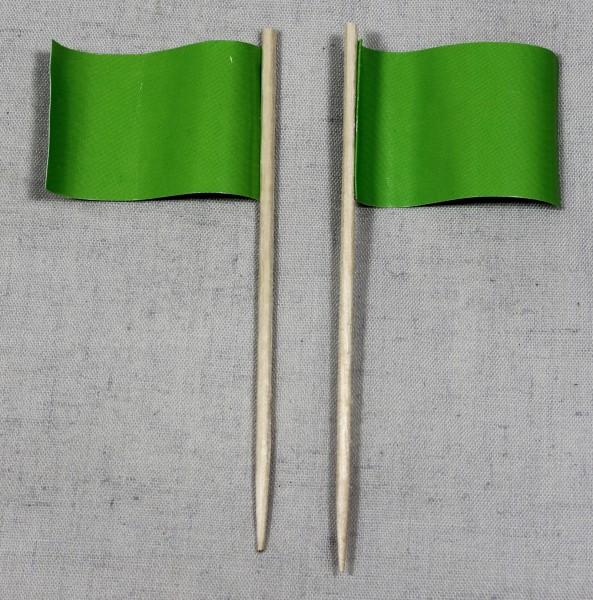 Party-Picker Flagge Uni Grün Papierfähnchen in Spitzenqualität 50 Stück Beutel