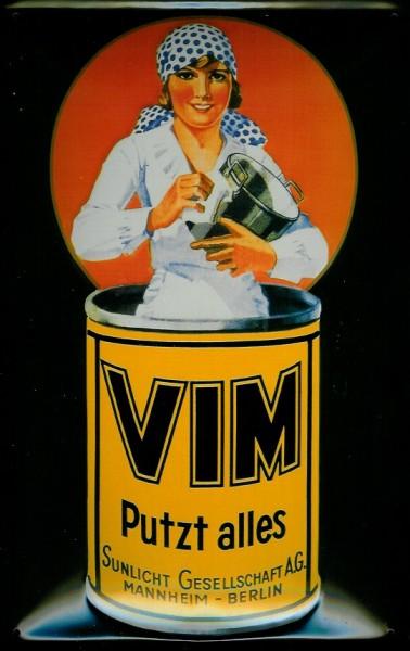 Blechschild Vim putzt alles Scheuerpulver Schild retro Werbeschild Nostalgieschild