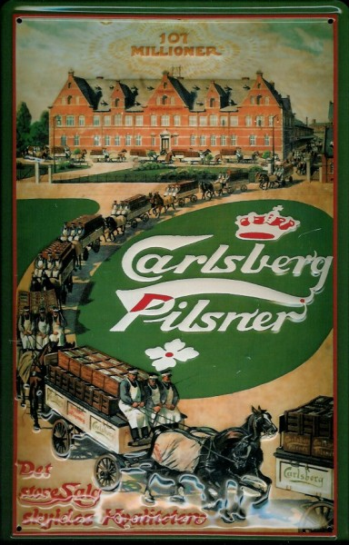 Blechschild Carlsberg Pilsner 107 Millioner Pferde Fuhrwerke Schild retro Werbeschild