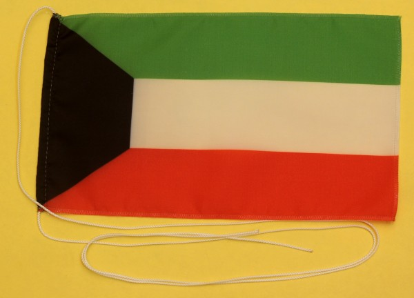 Tischflagge Kuwait 25x15 cm optional mit Holz- oder Chromständer Tischfahne Tischfähnchen