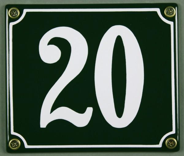 Hausnummernschild 20 grün 12x14 cm sofort lieferbar Schild Emaille Hausnummer Haus Nummer Zahl Ziffe