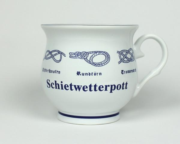 Schietwetterpott Kaffeepott mit Seemannsknoten bauchig Kaffeebecher Kaffeetasse Kaffee Pott