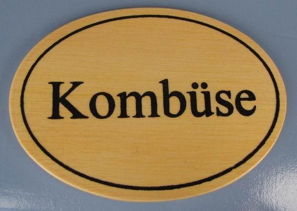 Ovales Holz - Türschild Kombüse 7x10 cm helles Holzschild