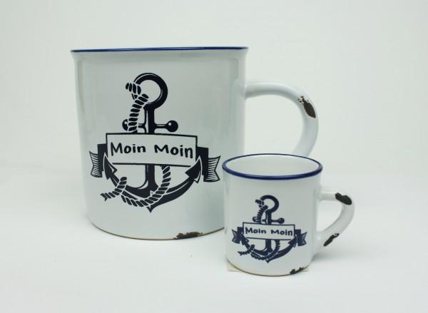 """2er Set Moin Anker + Mini Becher Kaffeebecher Kaffeepott weiß BLAU """"Rusty"""" Emaille Tasse Becher"""