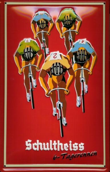 Blechschild Nostalgieschild Schultheiss Bier Berlin 6 - Tagerennen Fahrrad Schild Radrennen