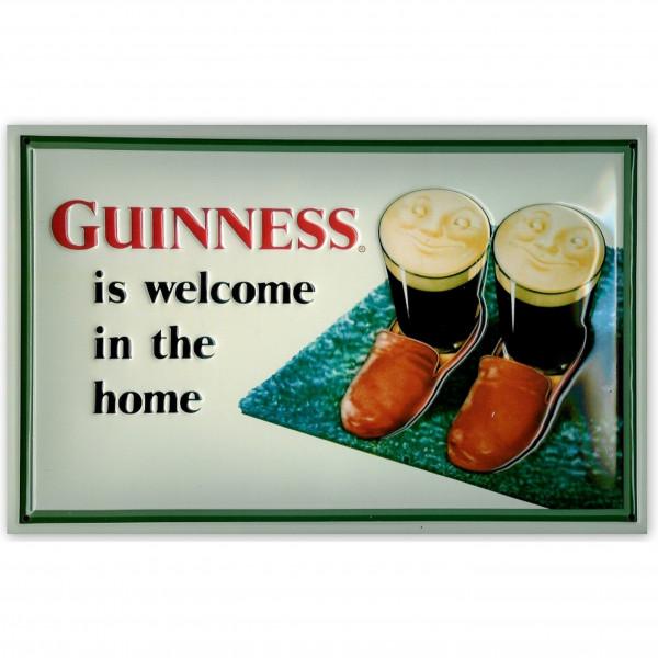 Blechschild Guinness is welcome in the home Slippers Bier Schild Kneipenschild