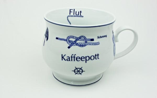 Kaffeepott mit Seemannsknoten bauchig Knotenbecher Souvenir Teetasse Tee Becher Andenken Teebecher