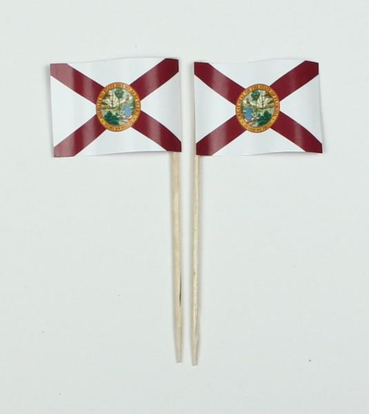 Party-Picker Flagge Florida USA Bundesstaat Papierfähnchen in Spitzenqualität 50 Stück Beutel