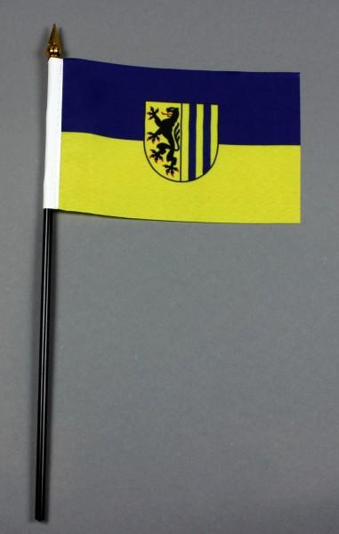 Kleine Tischflagge Leipzig 10x15 cm optional mit Tischfähnchenständer