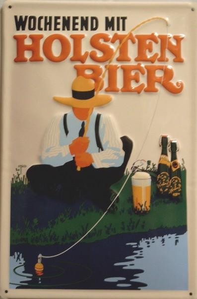 Blechschild Holsten Bier Wochenend Hamburg Angler retro Schild Werbeschild angeln