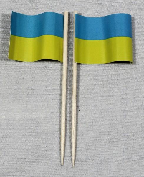 Party-Picker Flagge Ukraine Papierfähnchen in Spitzenqualität 50 Stück Beutel