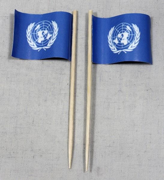 Party-Picker Flagge UNO United Nations Papierfähnchen in Spitzenqualität 50 Stück Beutel