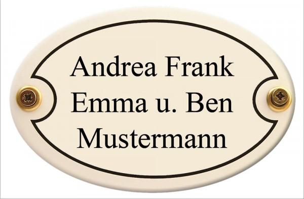 Türschild oval mit Wunschtext 20 x 13,5 cm wetterfestes Emaille verschiedene Farben und Schriften