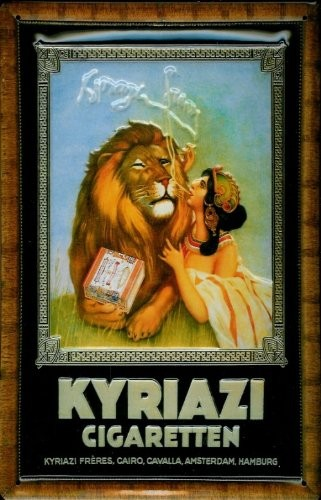 Blechschild Kyriazi Cigaretten Löwe Zigaretten Schild Nostalgieschild