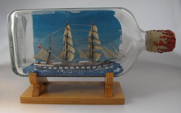 """Buddelschiff Bark """"Lwow"""" um 1975, 1,5 Liter, Meisterwerk aus Polen"""