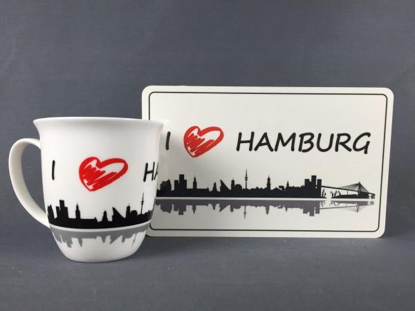 I love Hamburg Kaffeebecher + Frühstücksbrett Souvenir Kaffeetasse Kaffee Becher Andenken