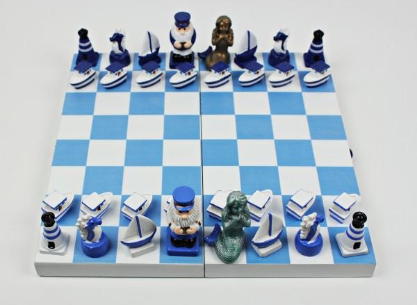 Maritimes Schachspiel Brettspiel 2 Personen Gesellschaftsspiel Holz Leuchtturm Boote Seepferdchen Ka