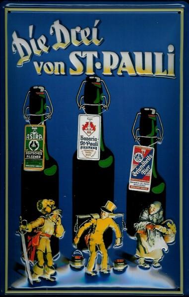 Blechschild Bier Hamburg Die drei von St. Pauli Hummel Schild