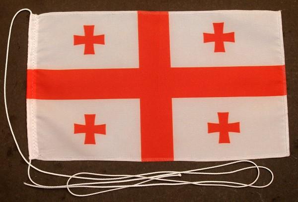 Tischflagge Georgien (neu) 25x15 cm optional mit Holz- oder Chromständer Tischfahne Tischfähnchen