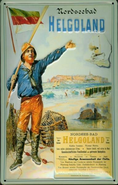 Blechschild Helgoland Hummer Fischer Nordseebad Schiff Schild Nostalgieschild