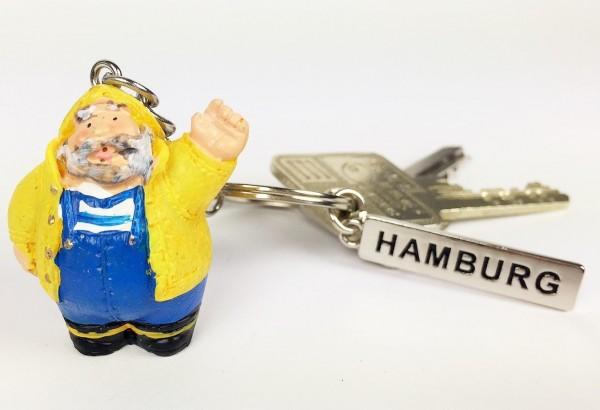 Maritimer Schlüsselanhänger Seemann Seebär gelb Hamburg Germany Mitbringsel Souvenir