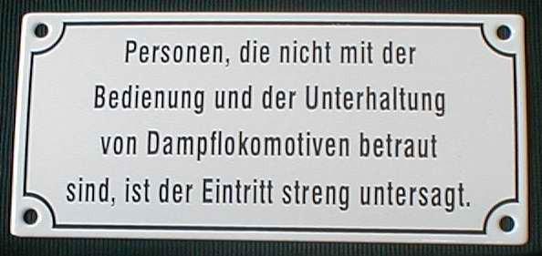 Eisenbahn Schild Personen, die nicht mit der Bedienung..