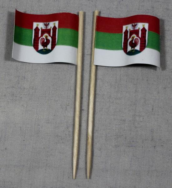 Party-Picker Flagge Frankfurt Oder Papierfähnchen in Spitzenqualität 50 Stück Beutel