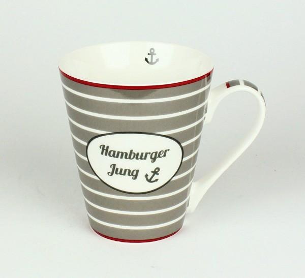 Hamburger Jung Anker Tasse Kaffee Maritimer Becher Andenken weiß grau rot Wappen