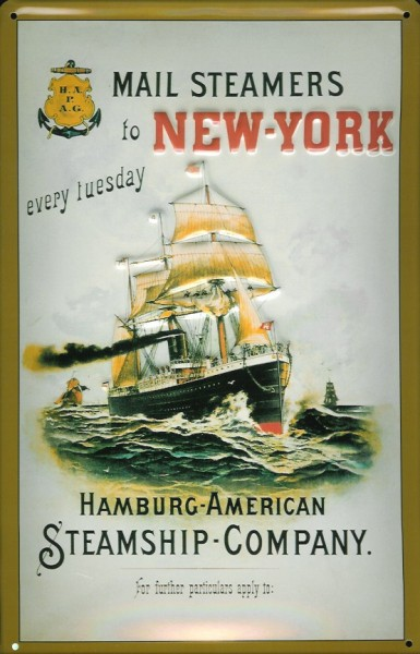 Blechschild Hapag Mail Steamer Dampfsegelschiff Dampfer Schiff Schild Nostalgieschild