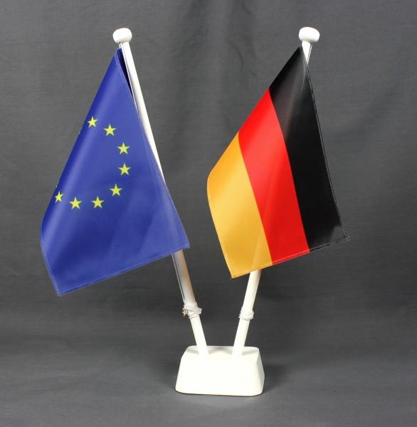 Tischflaggenständer 2-fach Holz weiß Profiqualität für 15x25cm Tischflaggen