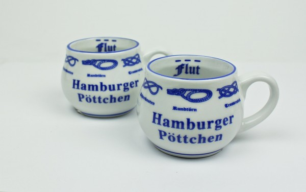 2er Set Hamburger Pöttchen mit Seemannsknoten bauchig Mini Becher Schnapsglas
