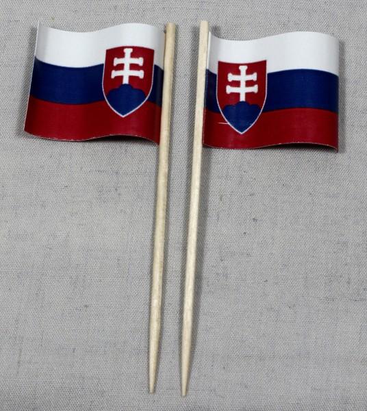 Party-Picker Flagge Slowakei Papierfähnchen in Spitzenqualität 50 Stück Beutel