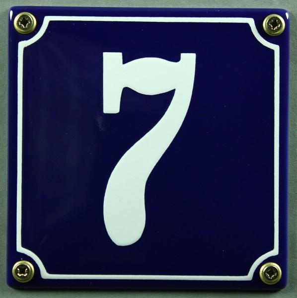 Hausnummernschild 7 blau - weiß 12x12 cm sofort lieferbar Schild Emaille Hausnummer Haus Nummer Zahl