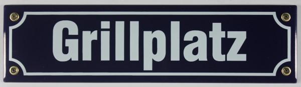 Strassenschild Grillplatz 30x8 cm Emaille Schild Emaile grillen Grill BBQ Garten