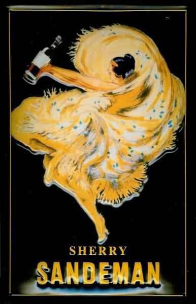 Blechschild Sandeman Sherry Tänzerin gelbes Kleid Schild Werbeschild