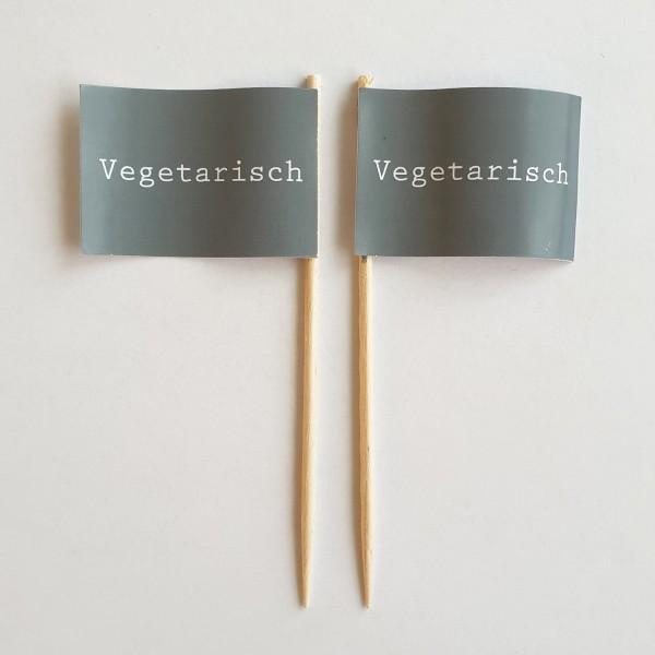 Party-Picker Flagge GRAU Vegetarisch Papierfähnchen in Spitzenqualität 50 Stück Beutel