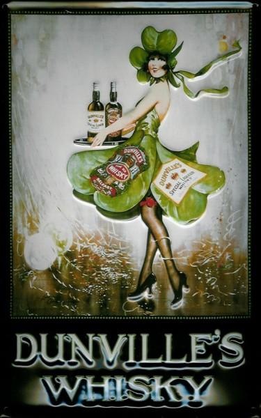 Blechschild Dunville's Whisky Kleeblatt Girl Whiskey retro Schild Nostalgieschild