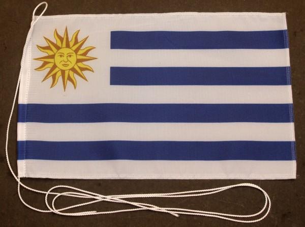 Tischflagge Uruguay 25x15 cm optional mit Holz- oder Chromständer Tischfahne Tischfähnchen